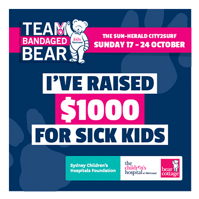 City2Surf Team Bandaged Bear $1000 raised