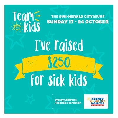 City2Surf Team Kids $250 raised
