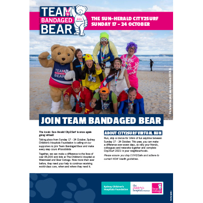 City2Surf 2021 Team Bandaged Bear Fundraising Guide