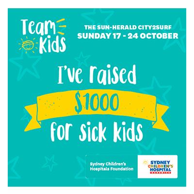 City2Surf Team Kids $1000 raised