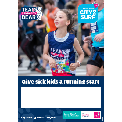 City2Surf 2021 Team Bandaged Bear Empty Belly Poster